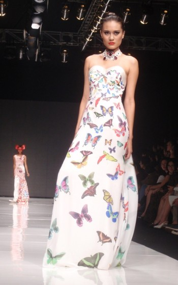 The White Long Dress with Butterfly Pattern by Lie Sang Bong. Model: Claudia Marcia