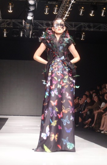 Black Long Dress with Butterfly Pattern by Lie Sang Bong. Model: Kimberly Ryder